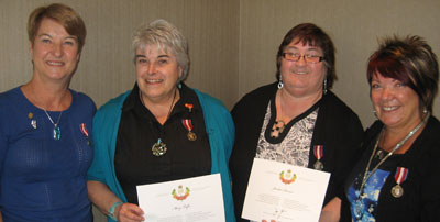 l. to r. Lynn Squance, Calgary, Mary Telfer, High River, Jocelan Darnel, Fort Saskatchewan, Olunda Dorward, Calgary.